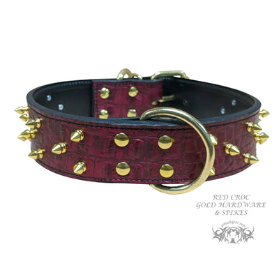 "W15 - 2"" Spiked Leather Dog Collar"