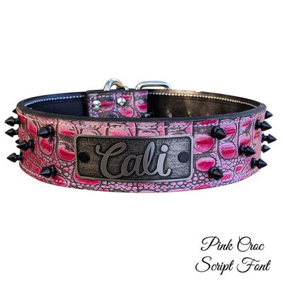 "W46 - 2"" Name Plate Spiked Leather Dog Collar - 6"