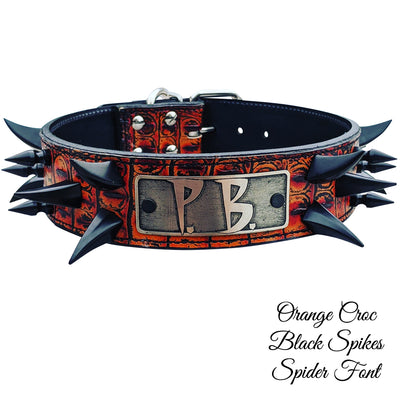 "WN14 - 2"" Name Plate Dragon Spiked Leather Dog Collar"