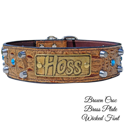 "WN7 - 2"" Personalized Leather Dog Collar with Bucket Studs & Gems"