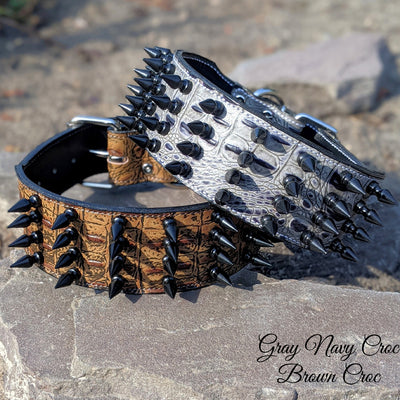 "X32 - 3"" Leather Dog Collar with Spikes"