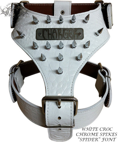 NH5 - Name Plate Spiked Leather Dog Harness