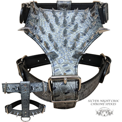 Y26 - Multiple Spiked Leather Dog Harness