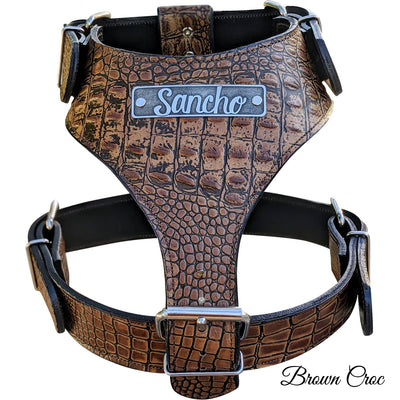 NH4 - Name Plate Leather Dog Harness