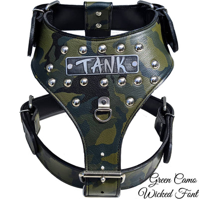 NH3 - Name Plate Studded Leather Harness