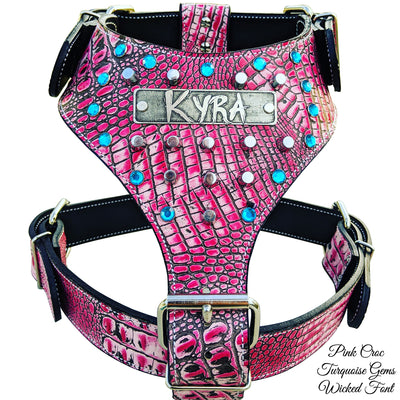 NH9 - Name Plate Dog Harness w/Gems & Bucket Studs