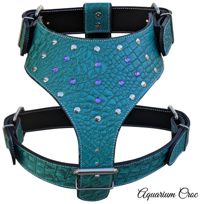 Y22 - Gems & Rivets Leather Dog Harness