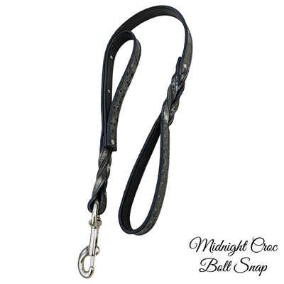 Dual Handle Twisted Leather Leash