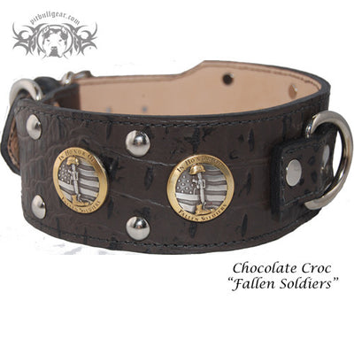 "J6 - 2 1/2"" Military Themed Studded Leather Dog Collar - 5"