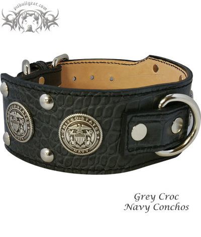 "J6 - 2 1/2"" Military Themed Studded Leather Dog Collar - 4"