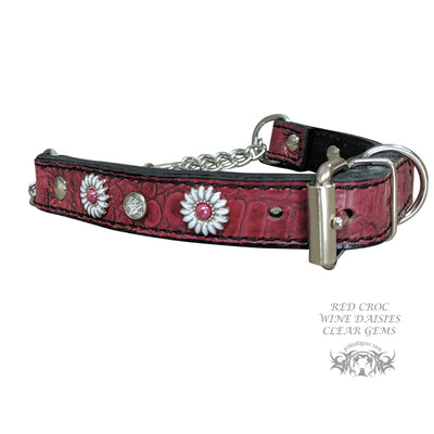 LM2 - Leather Martingale Collar with Daisies & Gems - 1""