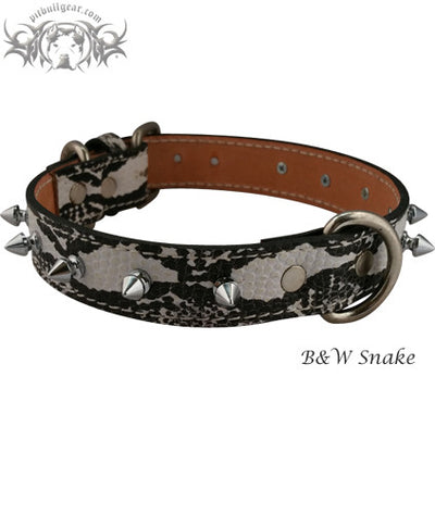 "U17 - 1"" Wide Spiked Leather Dog Collar - 1"