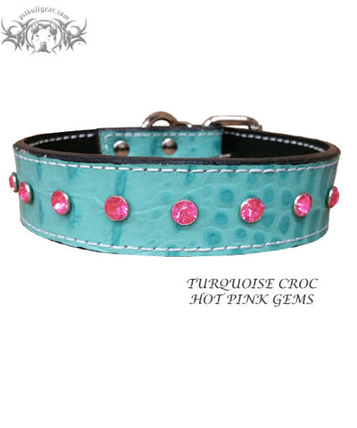 "U3 - 1"" Leather Dog Collar with Gems"