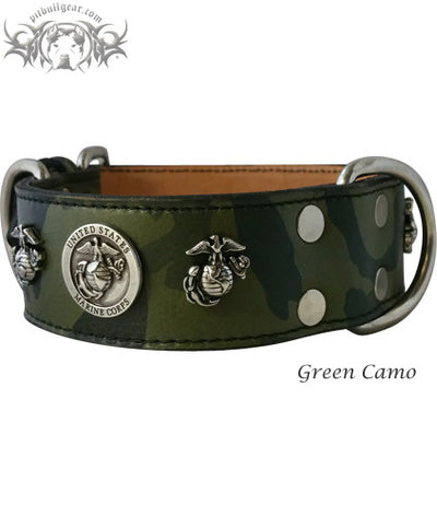 "W76 - 2"" Marine Corps Theme Leather Dog Collar - 2"