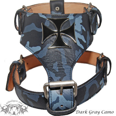 Y03 - Maltese Cross Leather Dog Harness