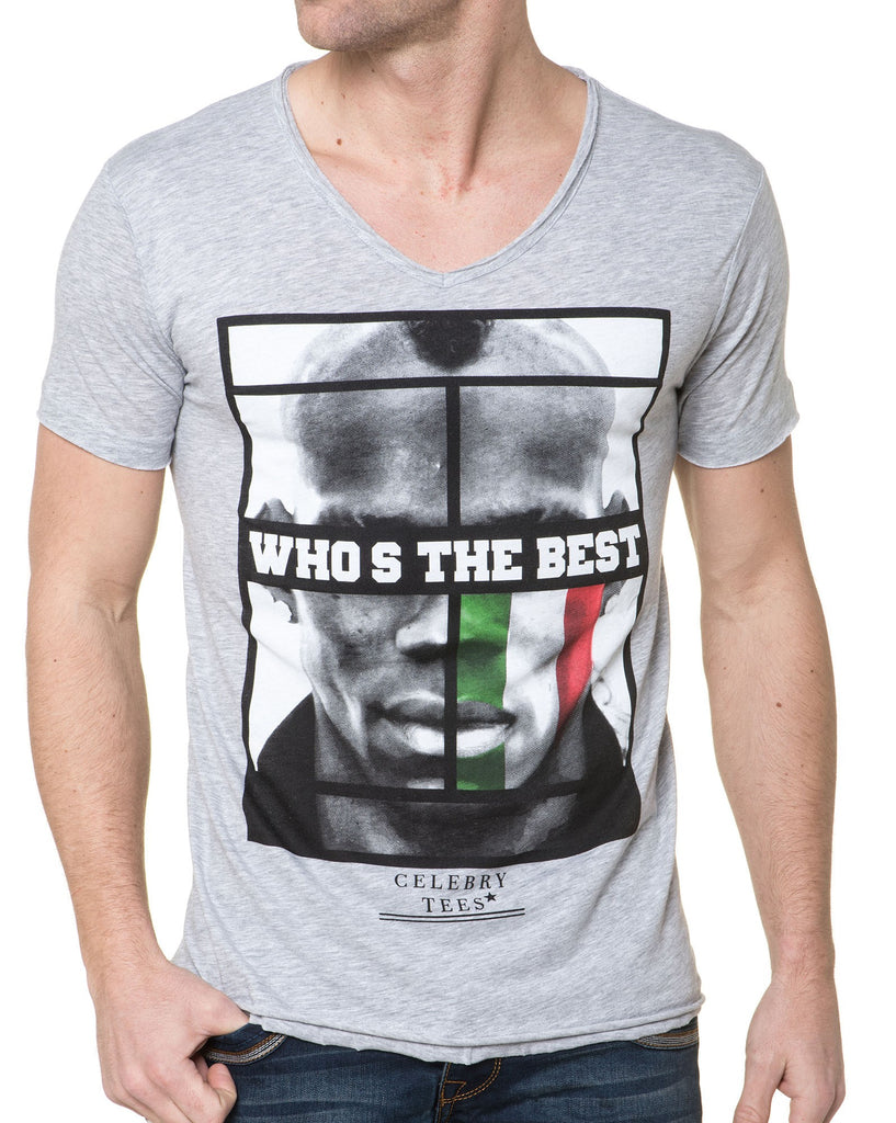 Tee-Shirt Homme Gris A Col V