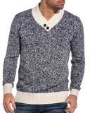 Pullover homme navy et beige col V avec boutons fantaisie