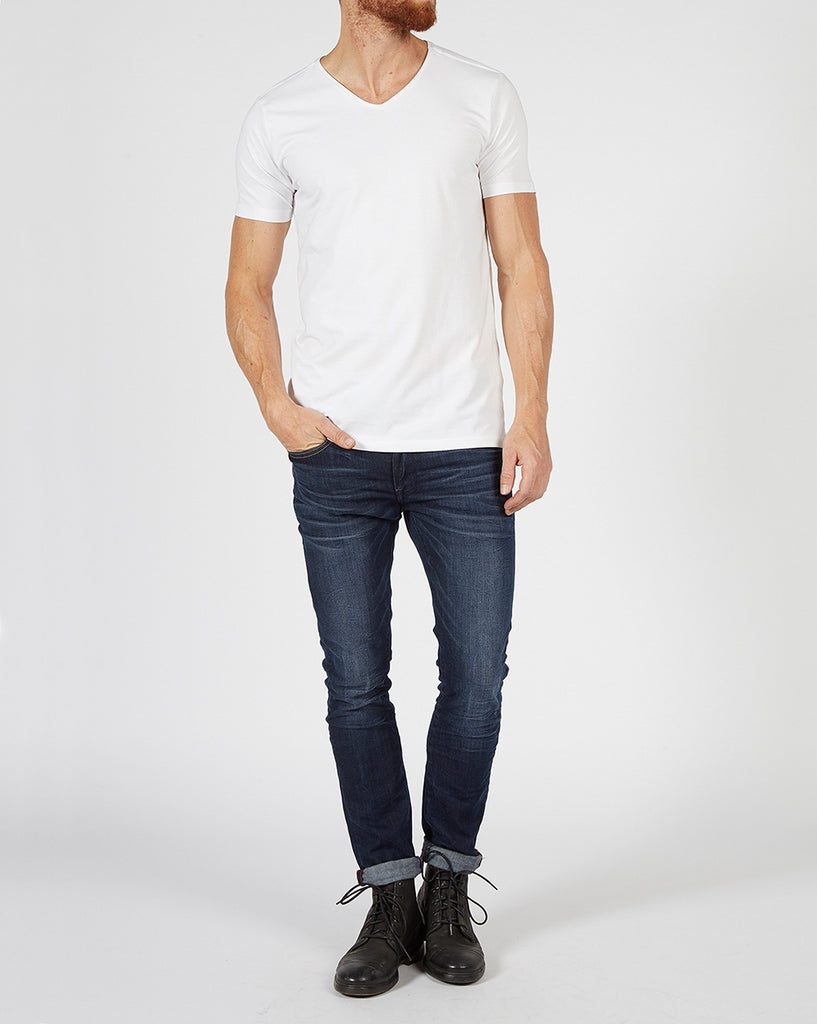 Lot de 2 tee-shirts basic uni blanc col en V