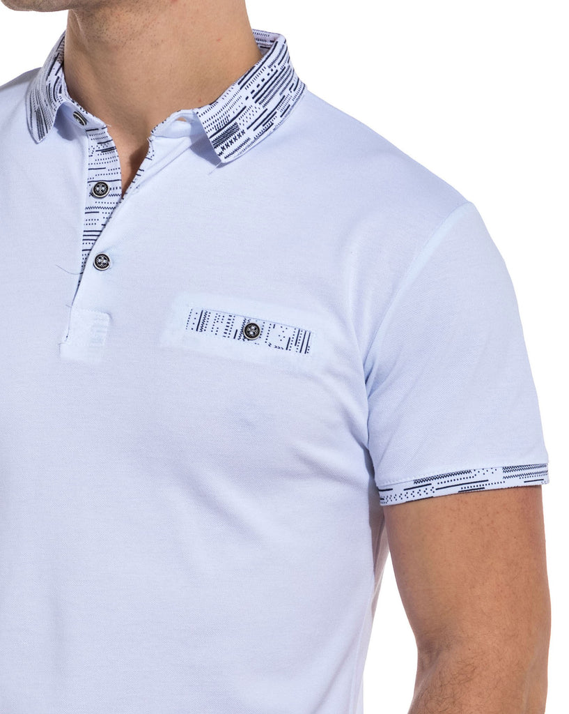 Polo homme blanc col graphique