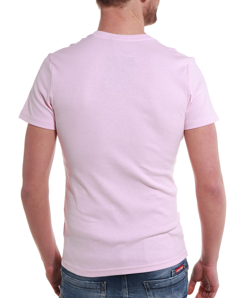 T shirt homme rose col V fashion