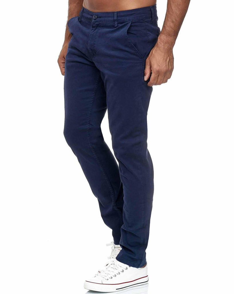 Pantalon chino slim stretch bleu marine homme