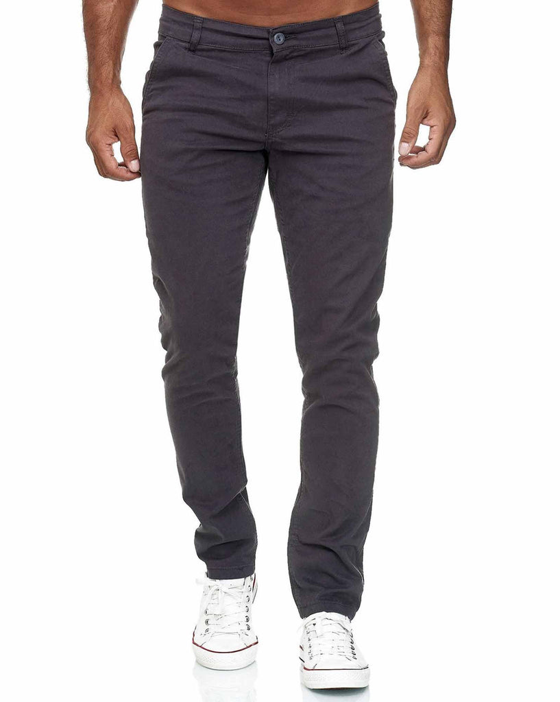 Pantalon slim toile chino stretch homme 5 poches gris anthracite