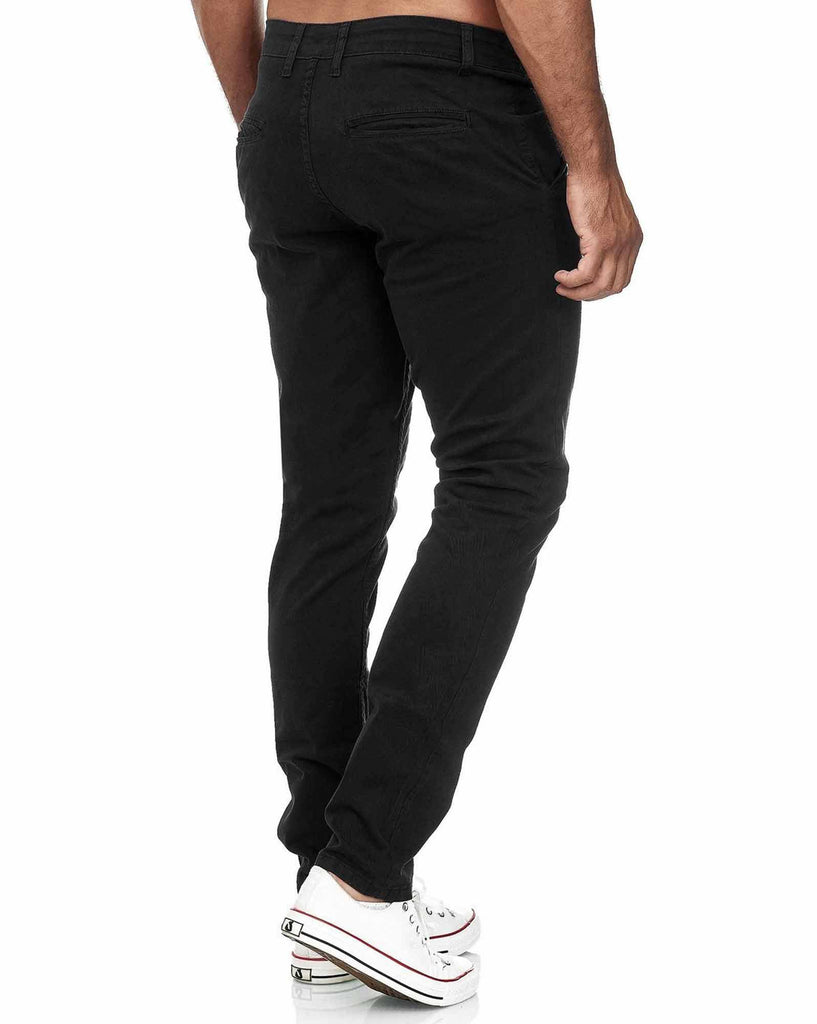Pantalon noir slim chino toile stretch