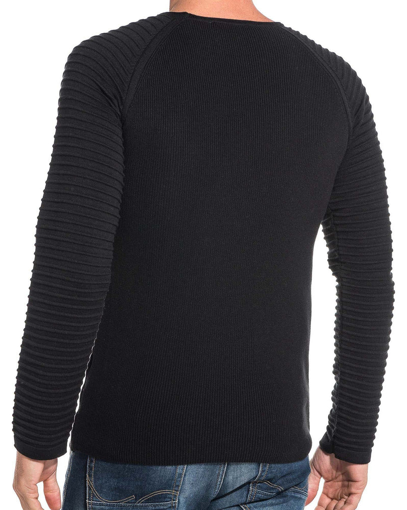 Pull fin homme noir fine maille relief