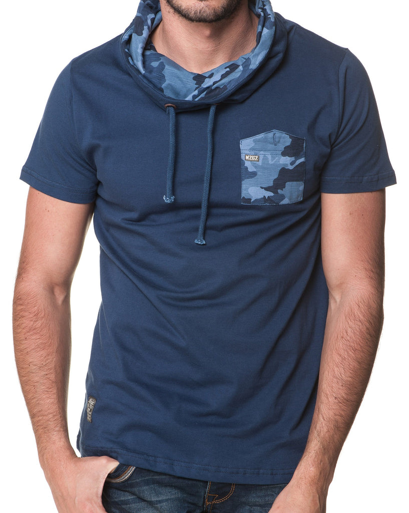 T-Shirt Col Boule Camouflage Navy Homme