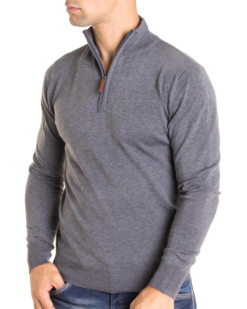 Pull 9622 gris col montant pour homme