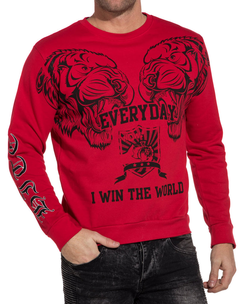 Sweat homme rouge imprimé graphique animal