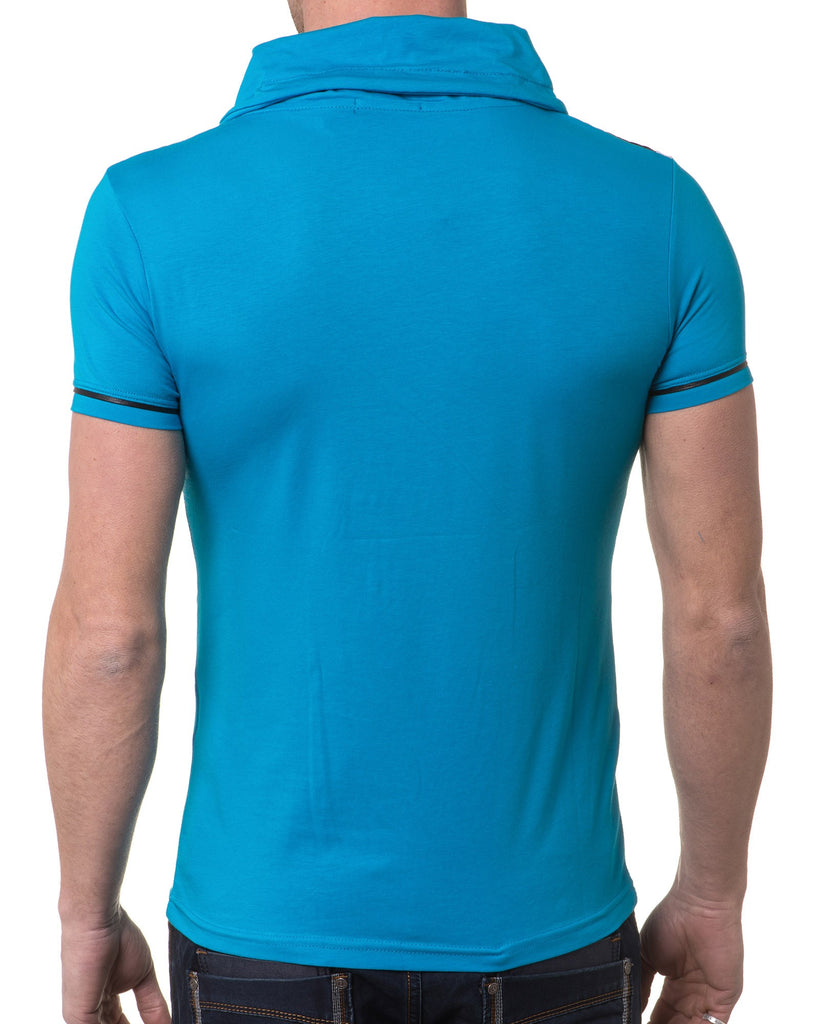 T-Shirt Homme Turquoise Col Boule