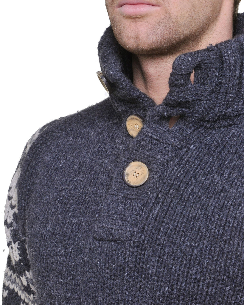 Pull homme anthracite col montant boutonné