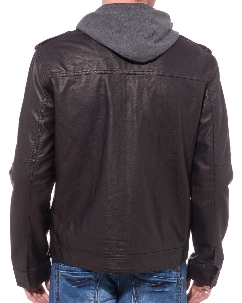 Veste simili cuir marron