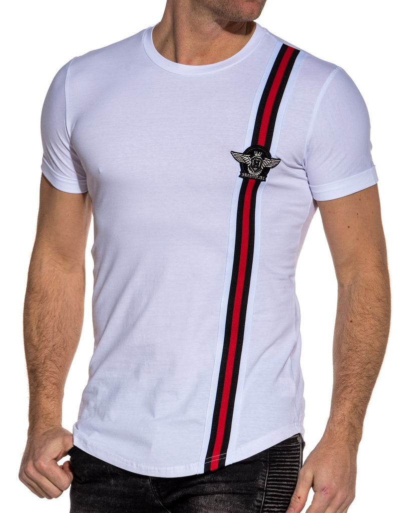 Tee-shirt blanc homme avec bande patch