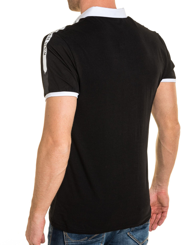 Polo noir col pression bandes blanches