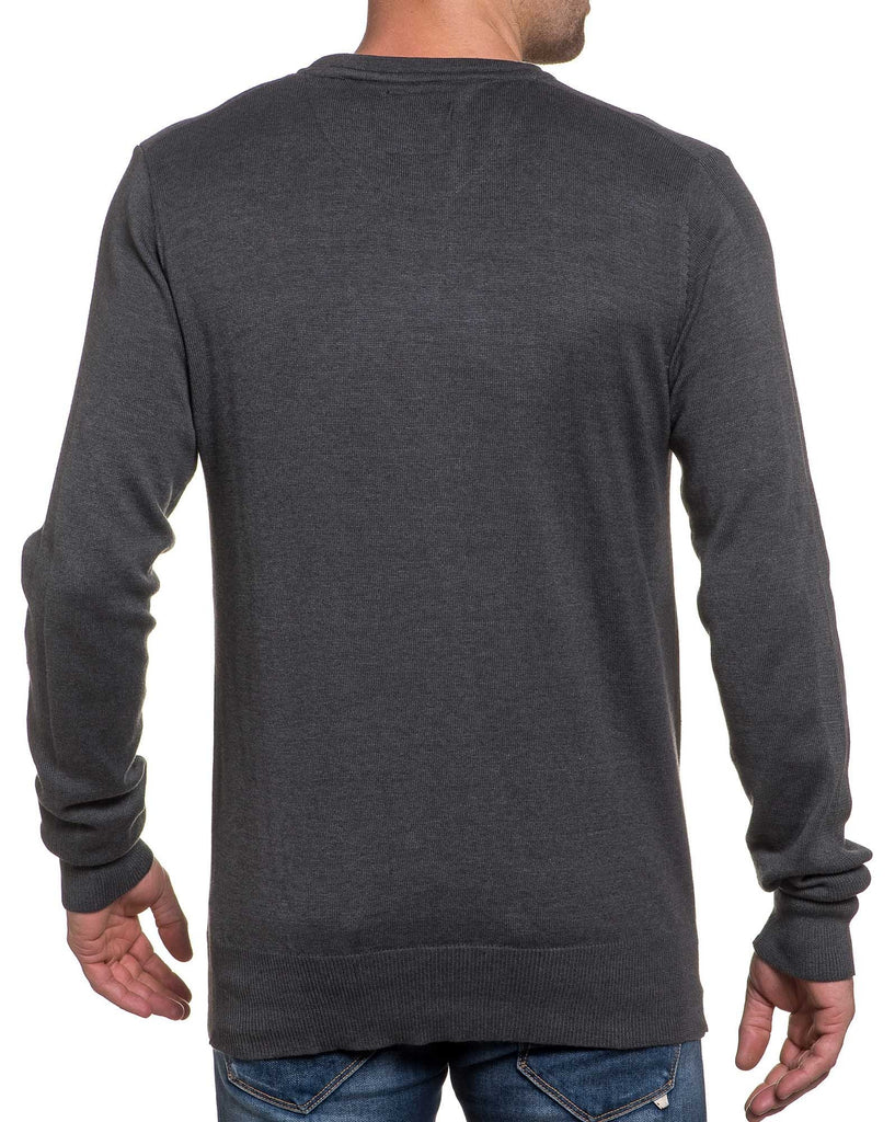 Pull fin gris double col V pour homme