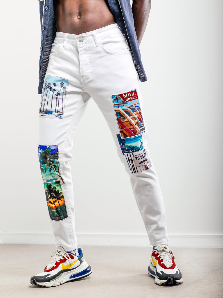 Jean blanc slim Hawaiian Denim avec patch photo pour homme