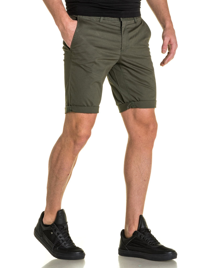 Short chino kaki homme stretch