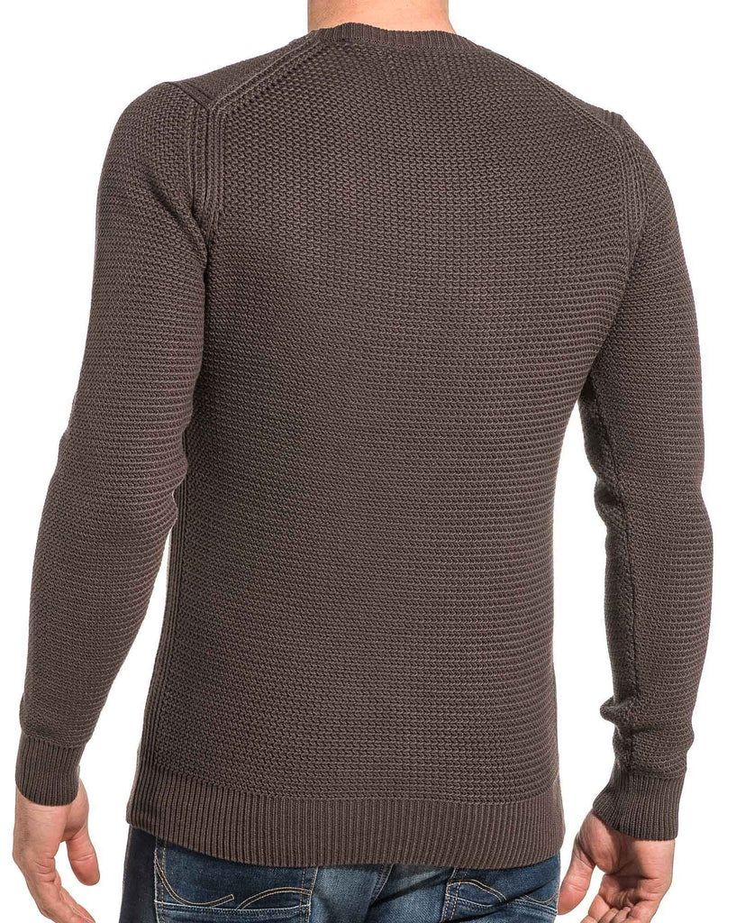 Pullover homme maille marron col rond