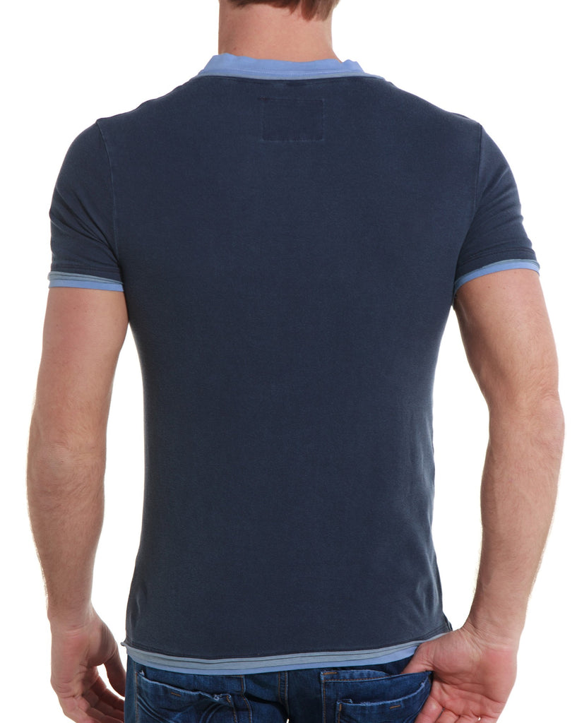 T shirt bleu navy homme double col fashion