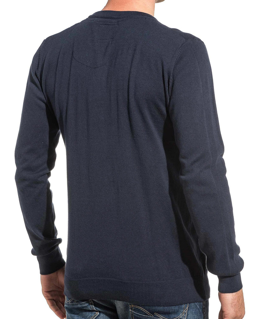 Pullover homme fine maille navy double col V 3 boutons