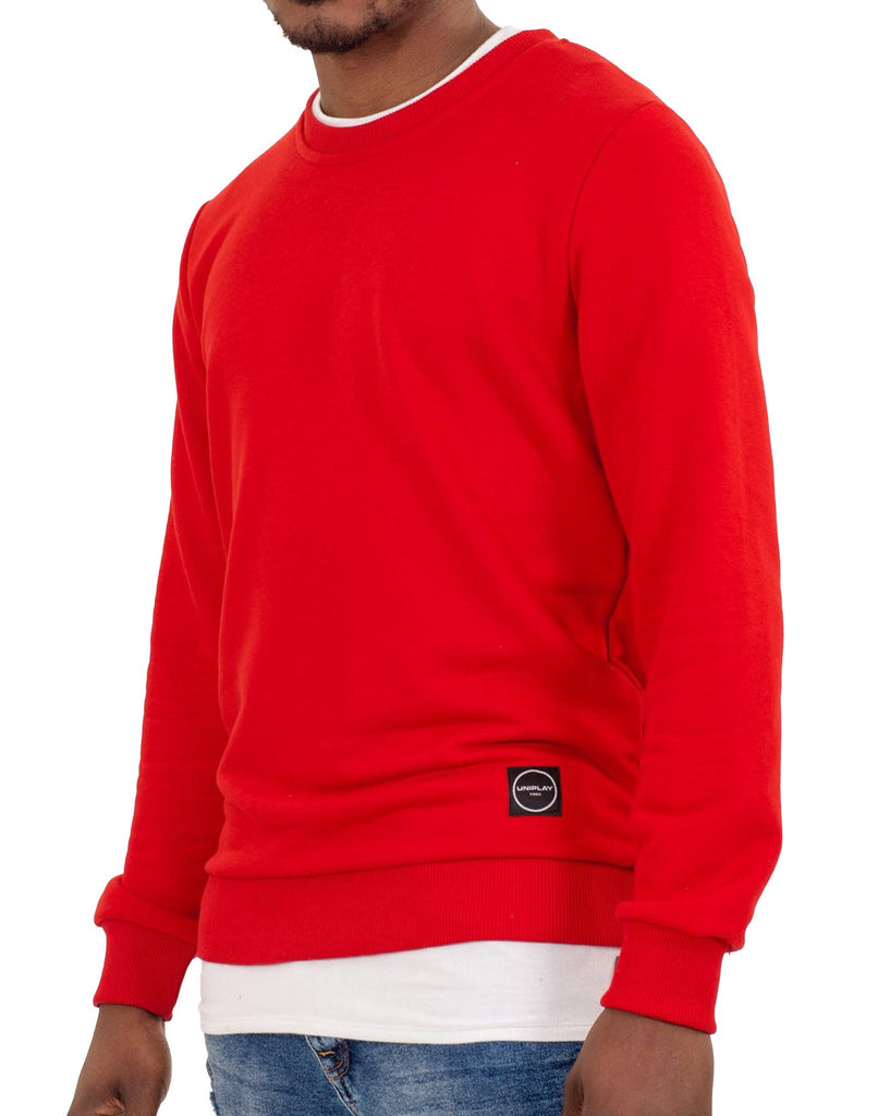 Sweat homme rouge uni