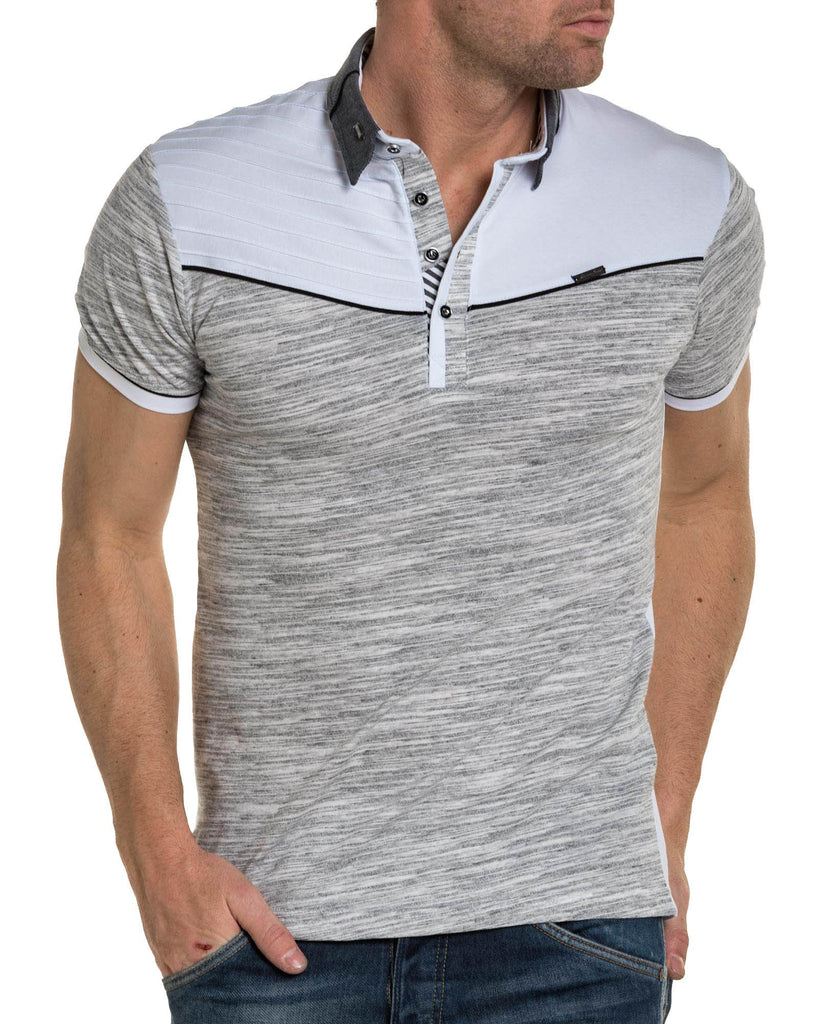 Polo homme blanc chiné col stylé