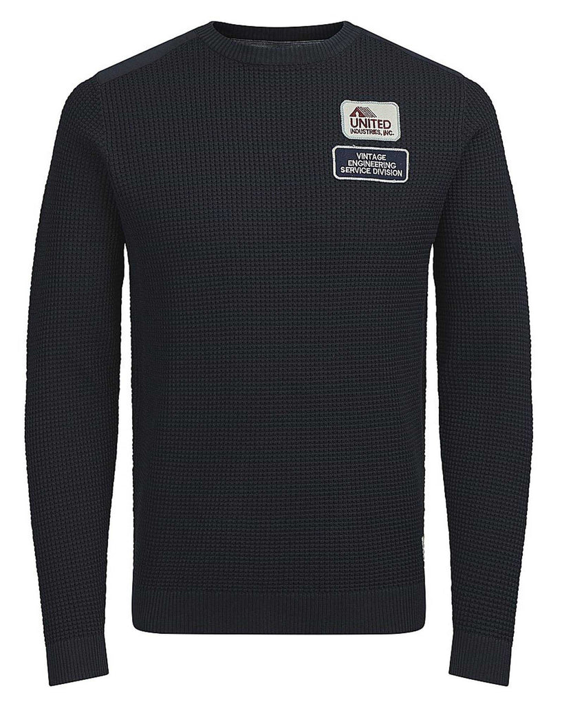 Pullover homme maille navy avec patchs