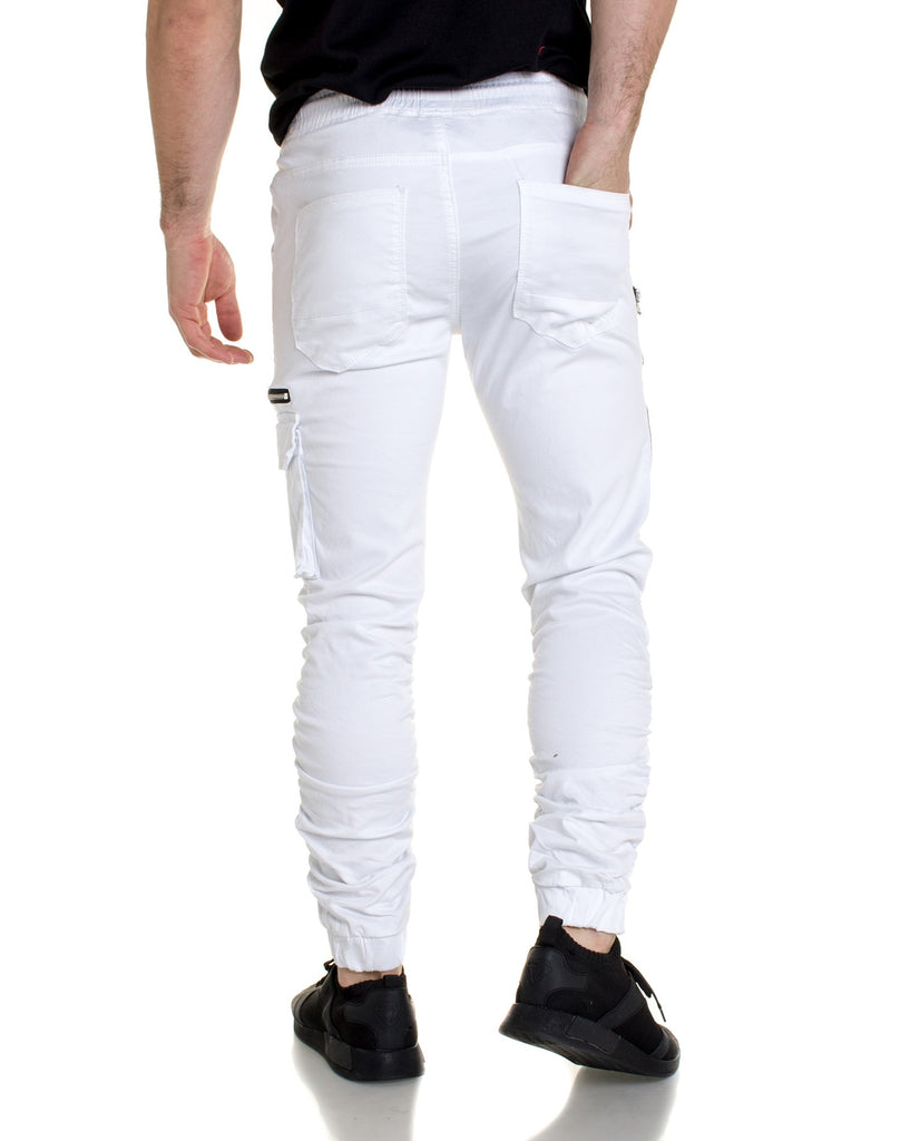 Pantalon blanc multipoches