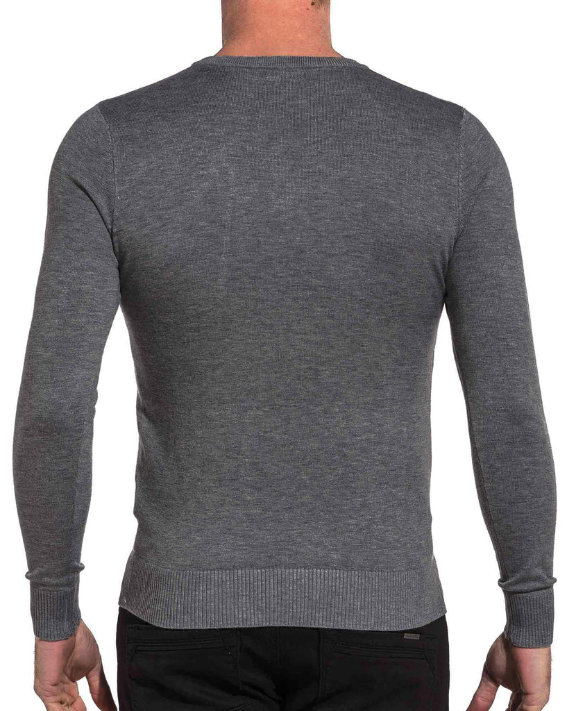 Pullover homme basic anthracite col rond