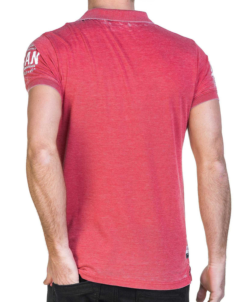 Polo homme fin rouge tomato fausse poche