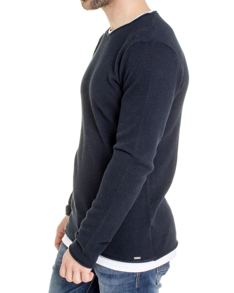 Pull homme fine maille bleu navy