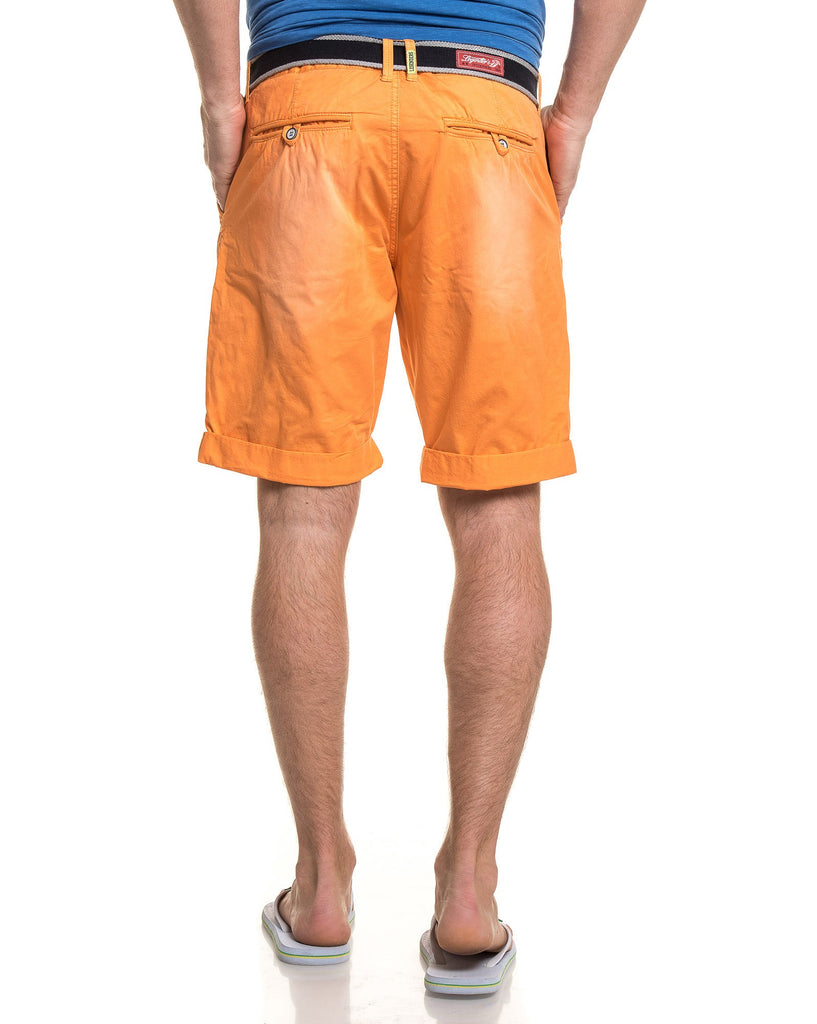 Short orange chino avec ceinture